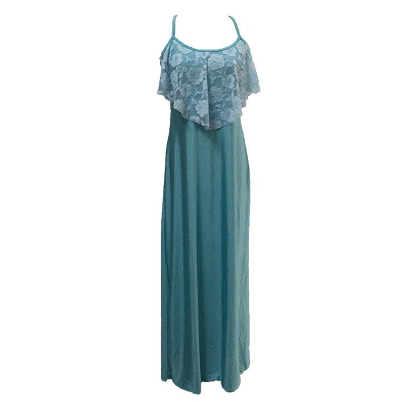 Women Long Maxi Dress Solid Color