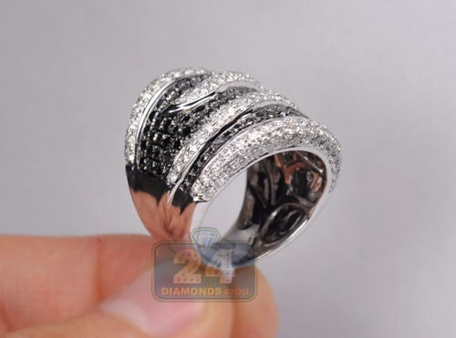 Women 925 Sterling Silver Natural Black Sapphire & White Topaz Criss Cross Ring