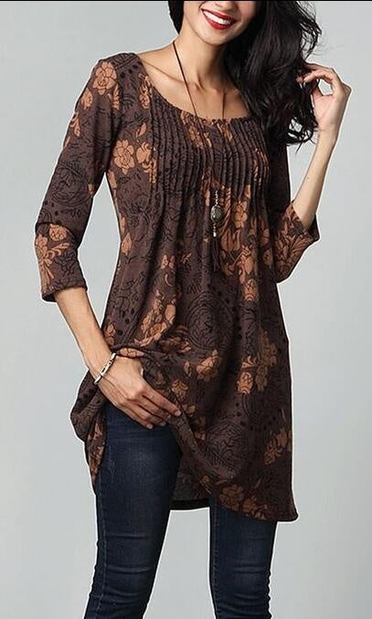 Plus Size Empire Waist Paisley Floral Vintage Printed 3/4 Sleeve Flared Tunic