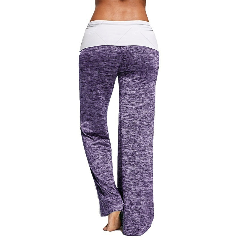 Fashion Foldover New Women Heather Wide Leg Casual Yoga Pants Bottom