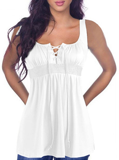 Women's Sleeveless Empire Tunic with Front Laces