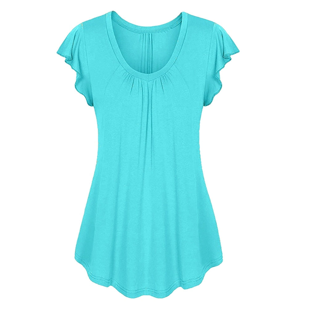 Plus Size S-6XL Women Solid Row Pleats Ruffled Ruched O-Neck Short Sleeve Shirt