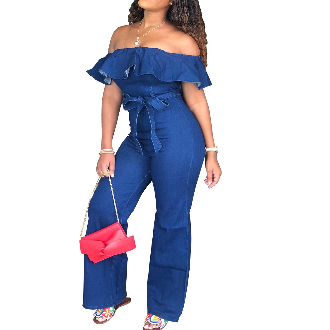 Thick Frayed Denim Jumpsuits Rompers
