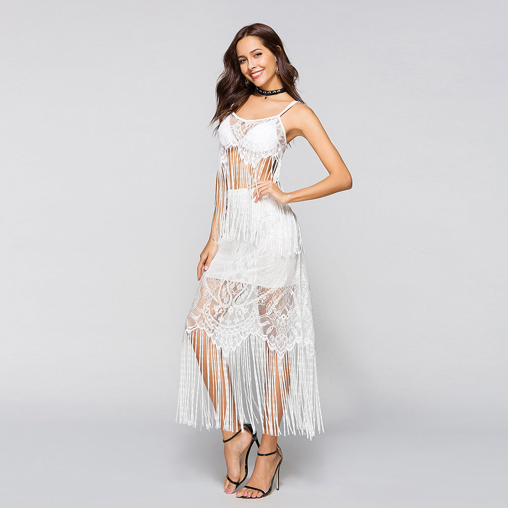Fringe Lace Tank With Skirt Three Piece Clothing
