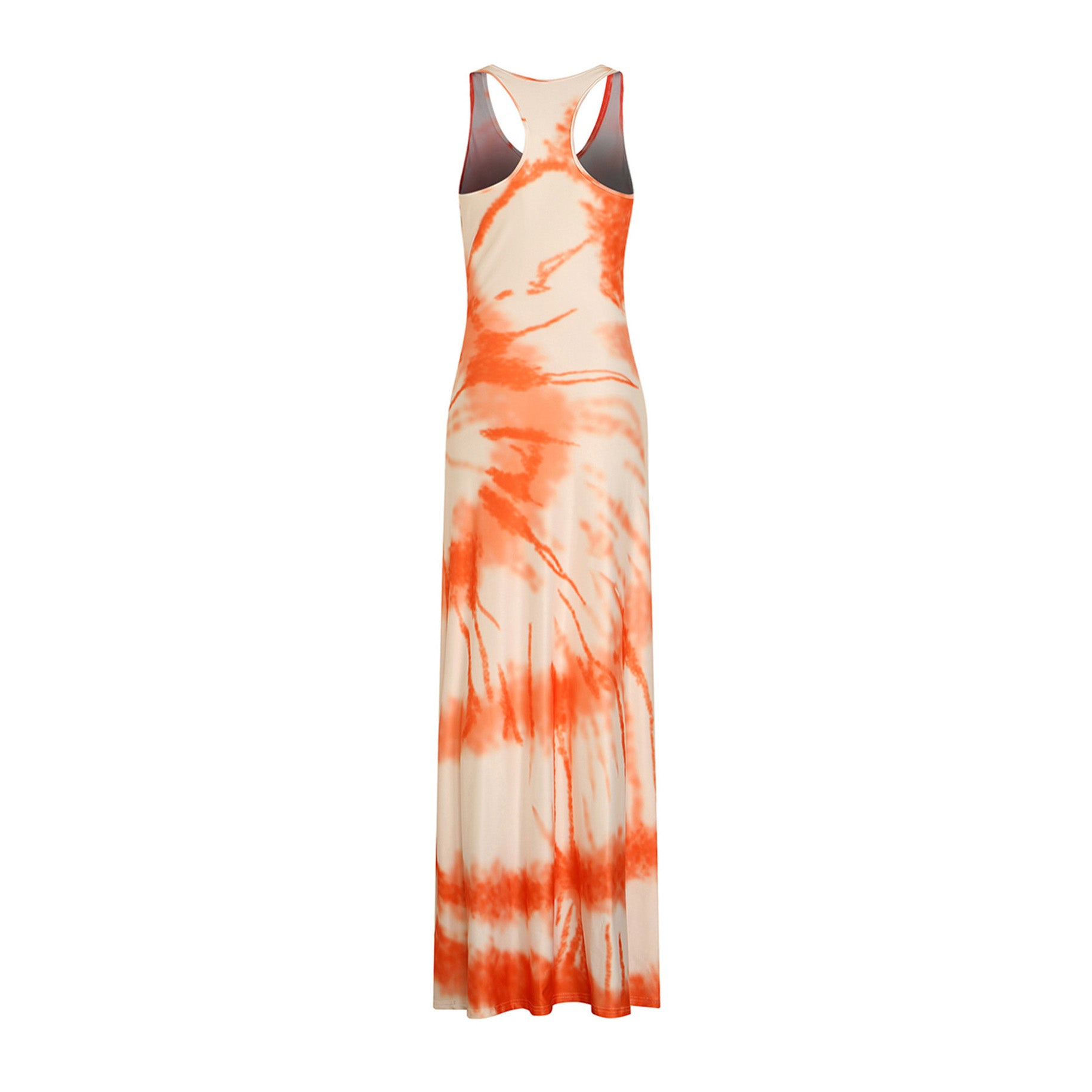 Orange Print Floor Length Dress for Women