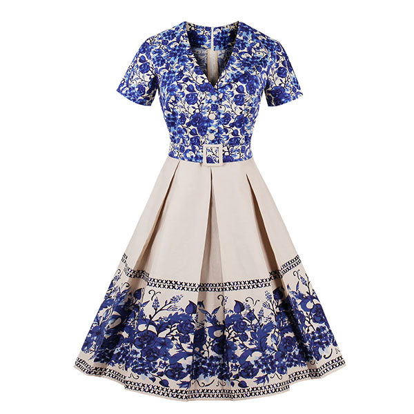 Retro Style Flower Pleated A-Line Dress