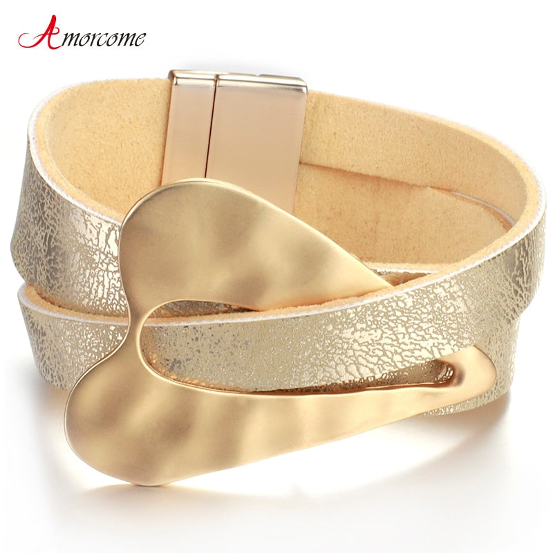 Champagne Metal Heart Charm Leather Bracelets for Women