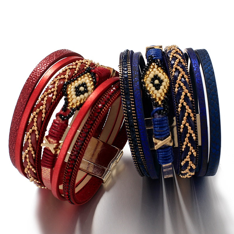 Evil Eye Leather Bracelets For Women