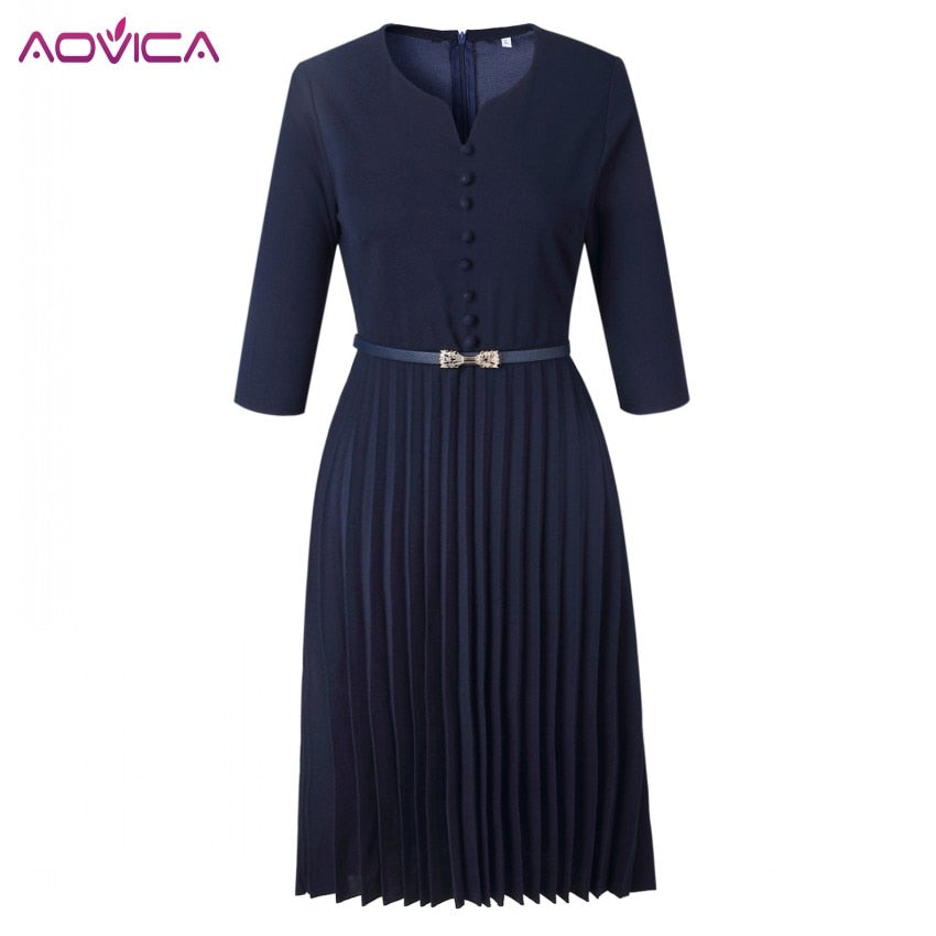 Solid V-Neck 3/4 Sleeve Pleated Midi Dress