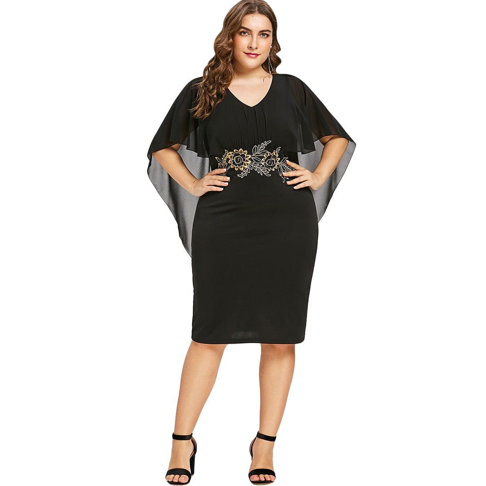 Plus Size  Embroidery Capelet Semi Sheer V Neck Party Dress
