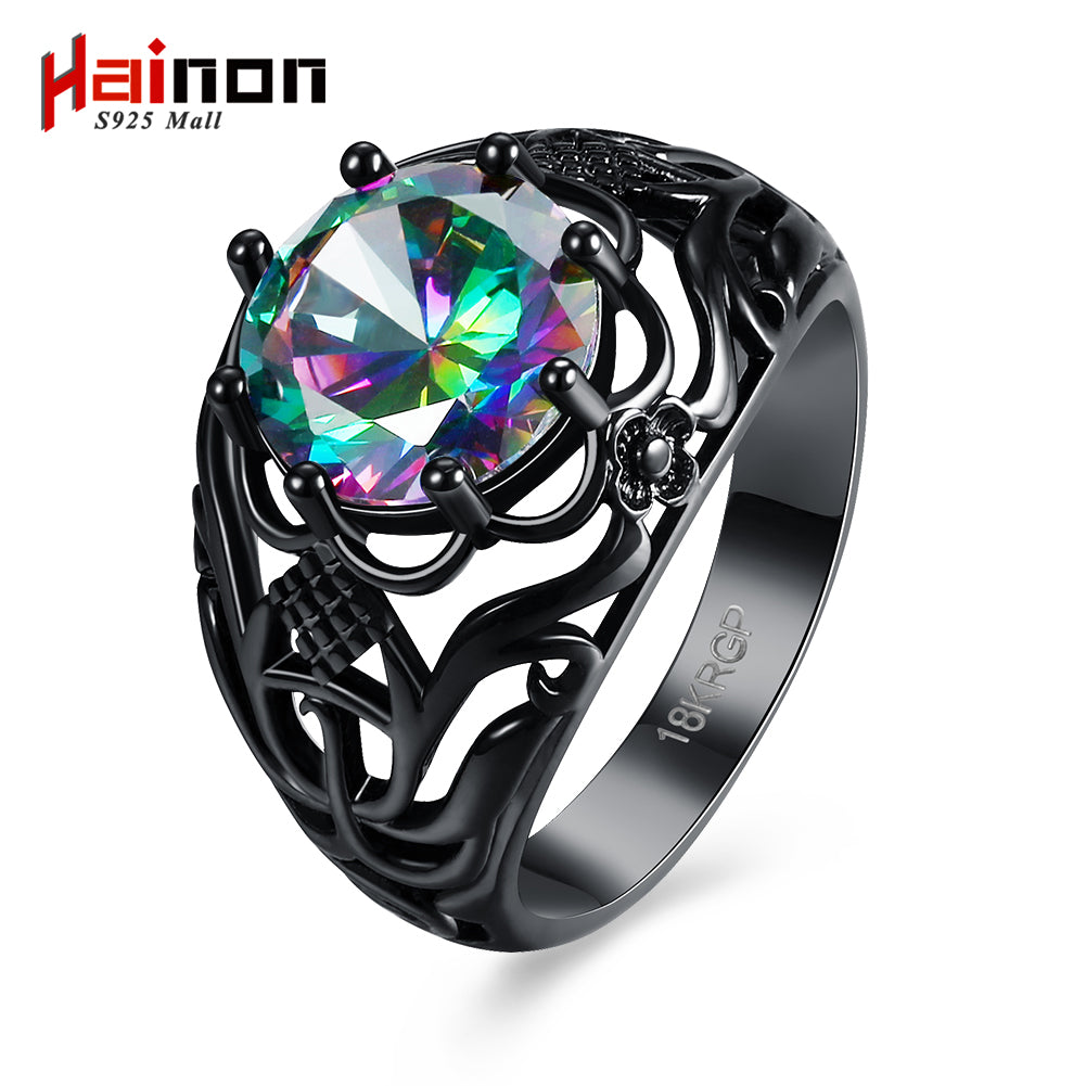Vintage Black Zircon CZ Crystal Colorful Rings For Women