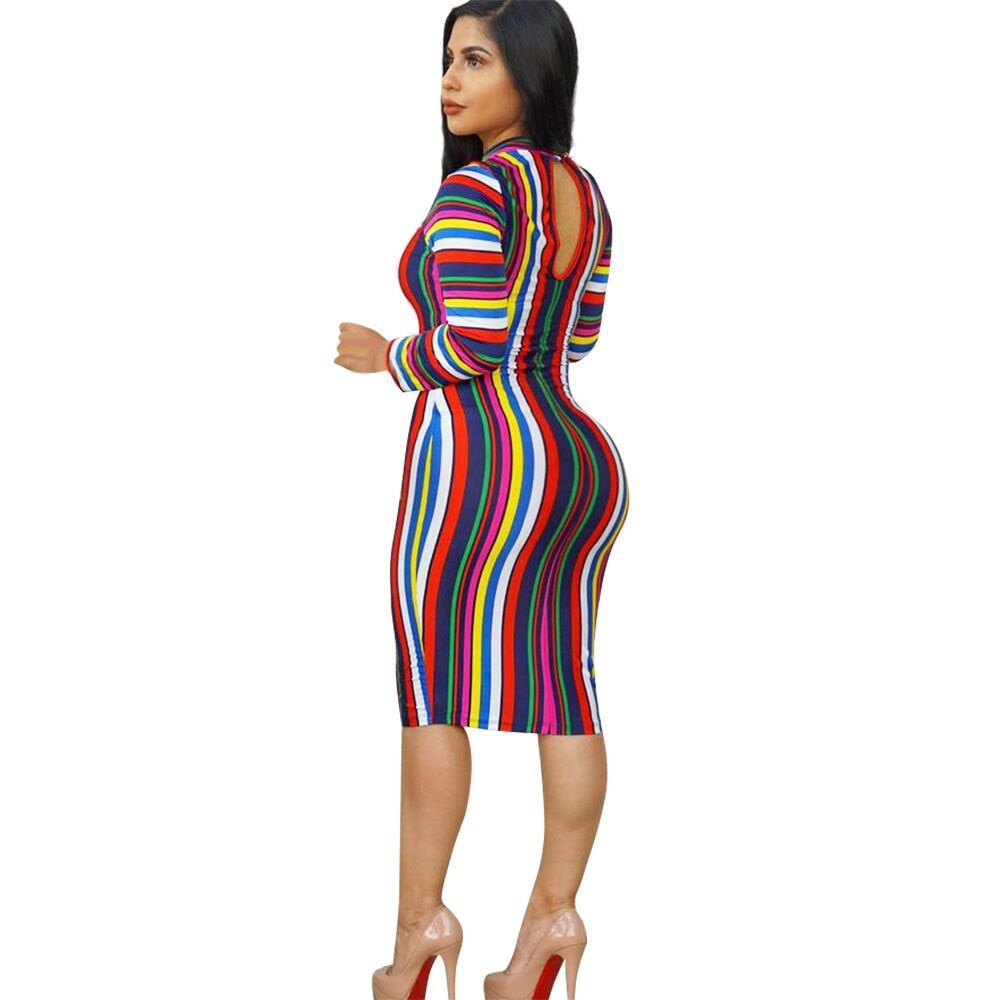Stripe Fashion Sexy Cap Sleeve Long Sleeves O neck Knee-Length Print Dress