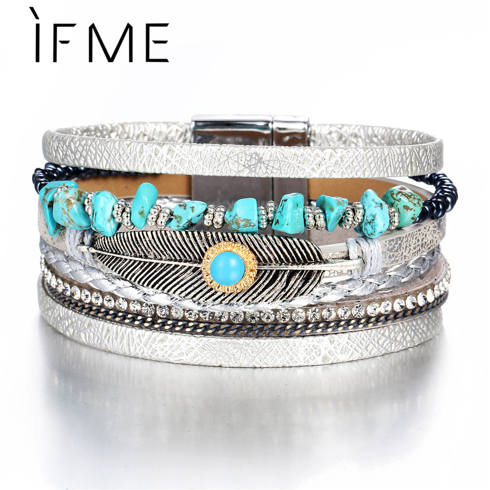 Multiple Layers Charms Leather Bracelets