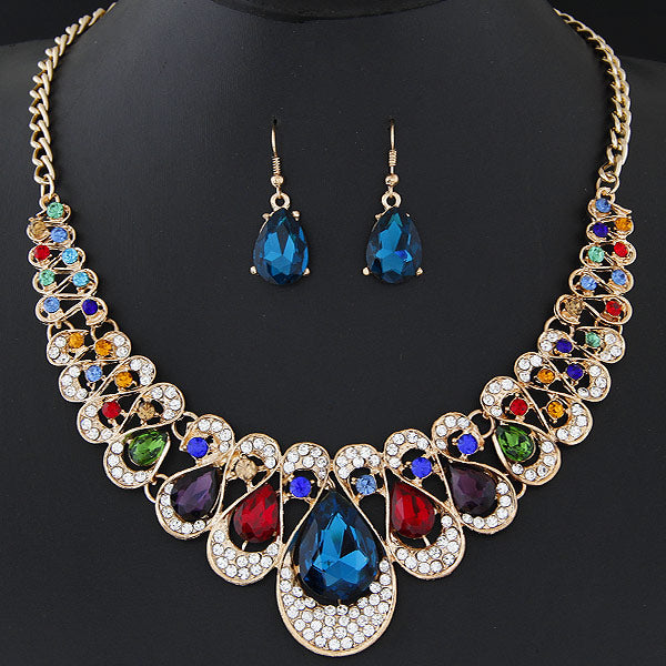 African Beads Gold Color Bridal Crystal Pendant Necklace Earrings Set