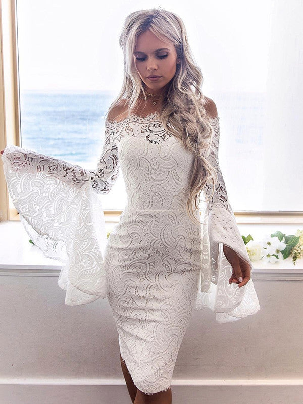 Flare Sleeve Pierced Strapless Dress