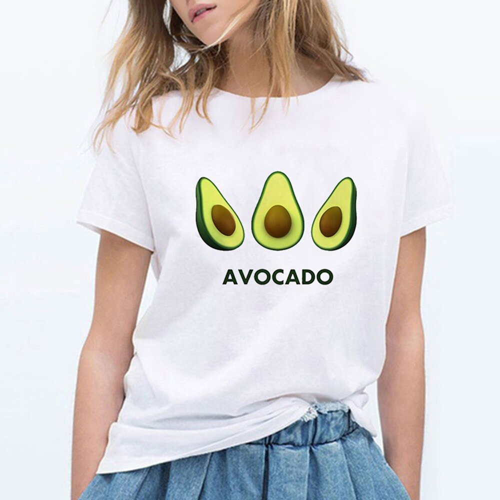 Cartoon Avocado Cat Pattern T Shirt