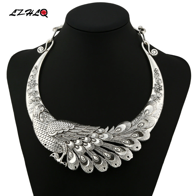 Retro Carved Peacock Collar Choker Statement Necklace