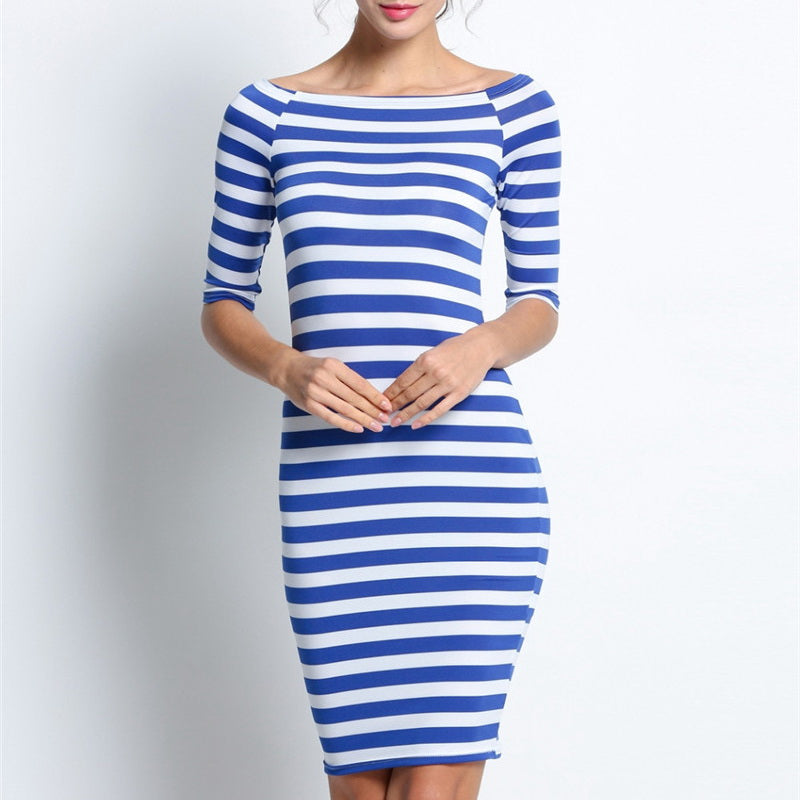 Half Sleeve Stripes Slim Pencil Dresses