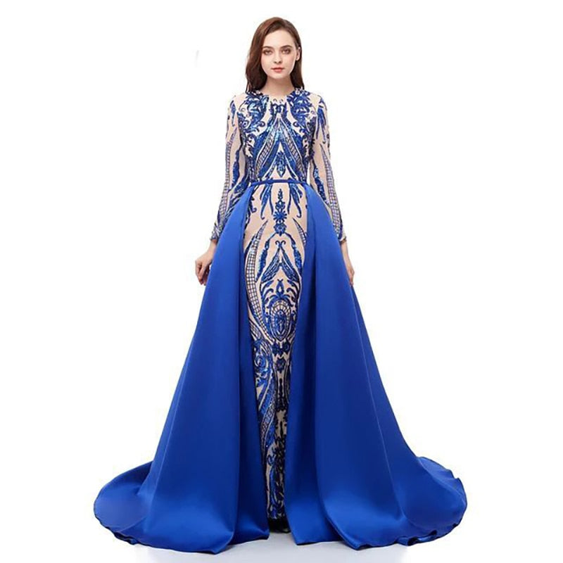 Long Sleeve Evening Dresses With Detachable Train