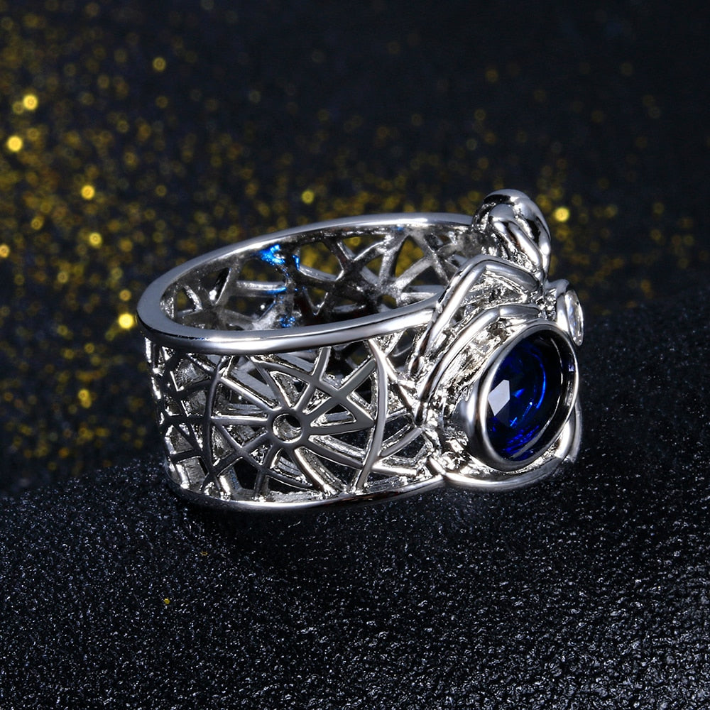 Spider Silver Sapphire Gemstones  Rings