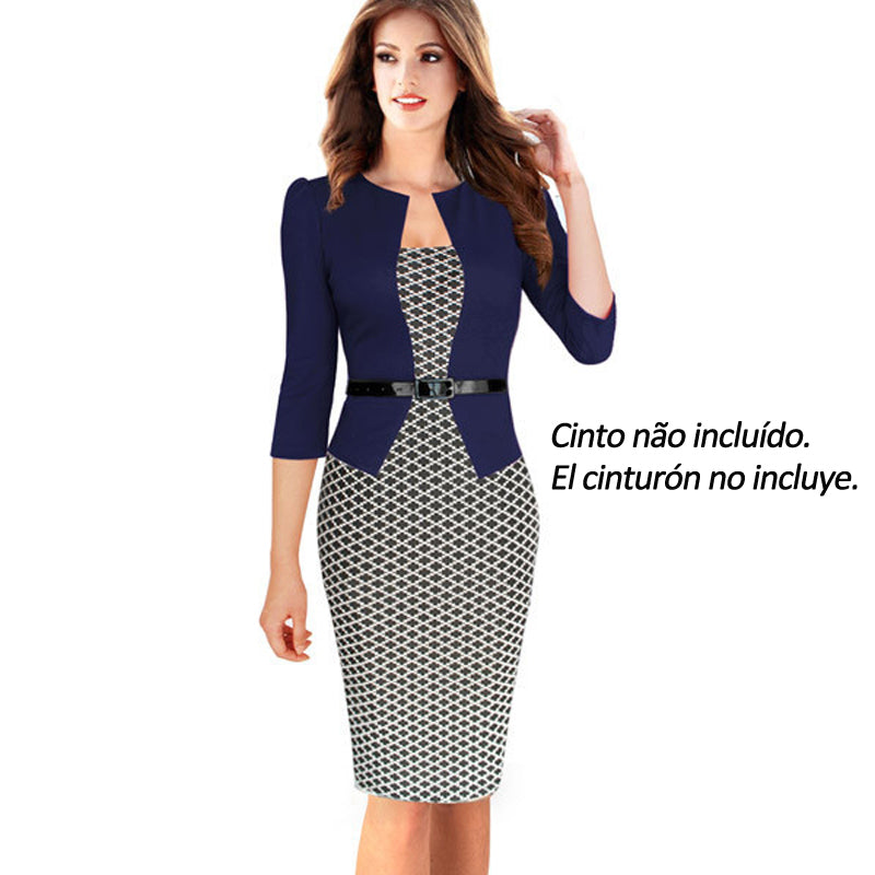 One-piece Faux Jacket Brief Elegant Patterns Work dress