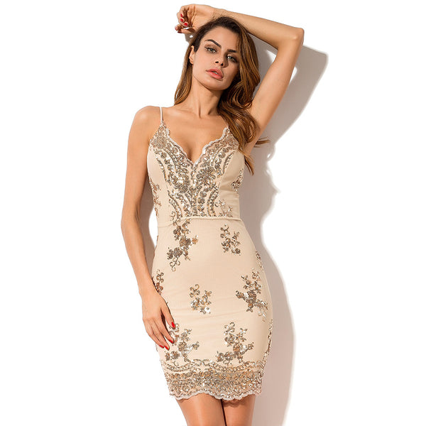 Sexy Strap Sequined Bodycon Short Dress