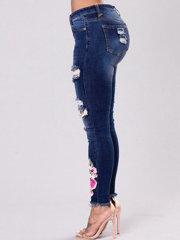 Stylish Hole Embroidery Easy Match Jeans