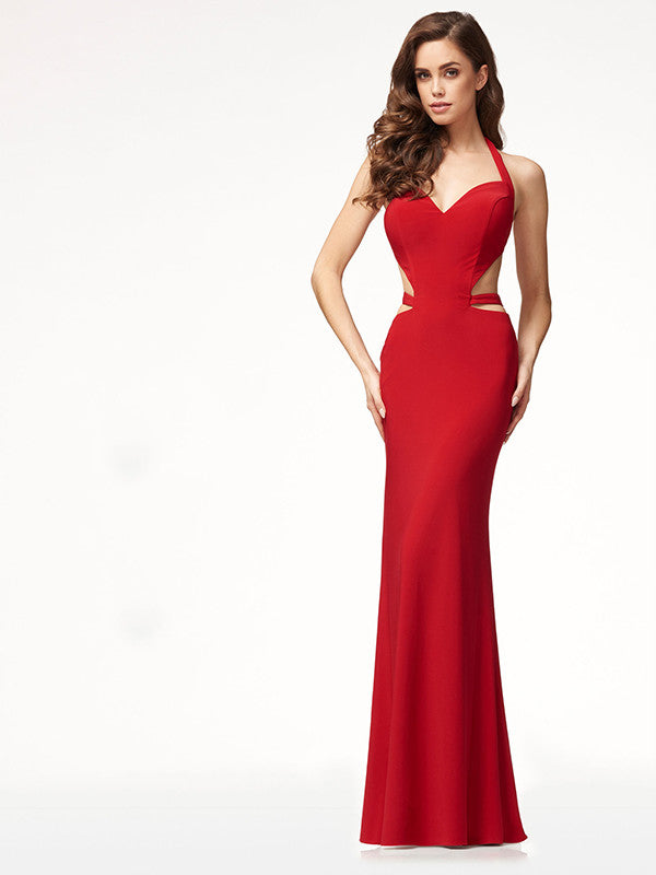 Sexy Backless Sleeveless Halter Slim Evening Dress