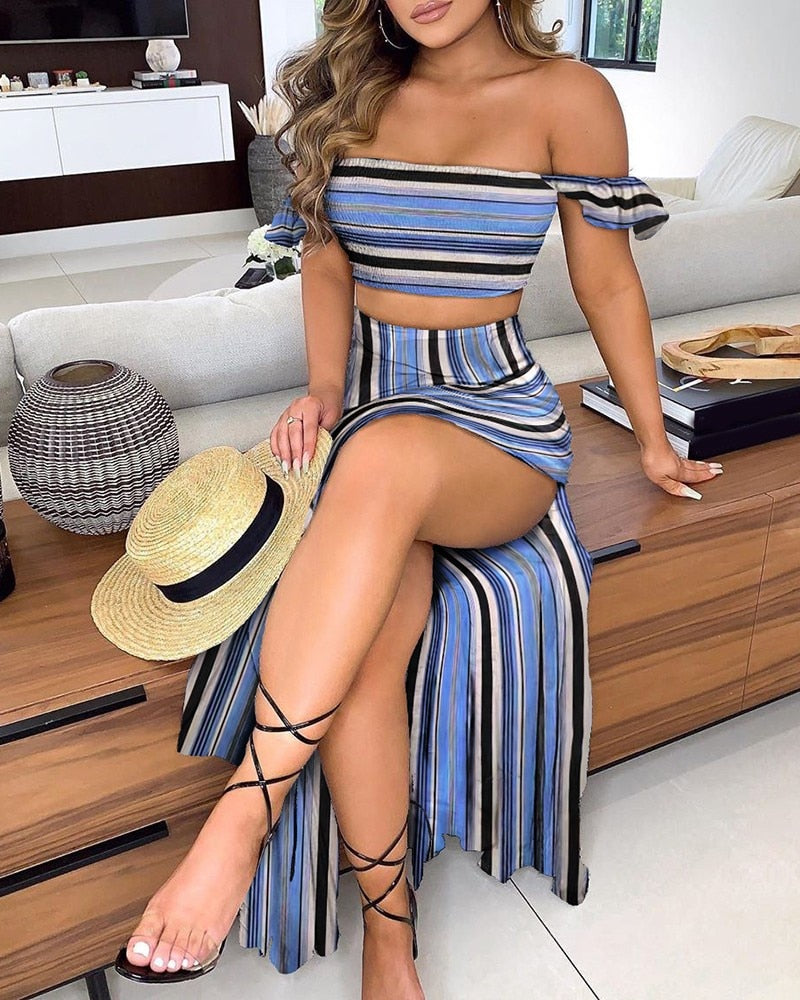 Short Sleeve Crop Top & High Slit Maxi Skirt Set