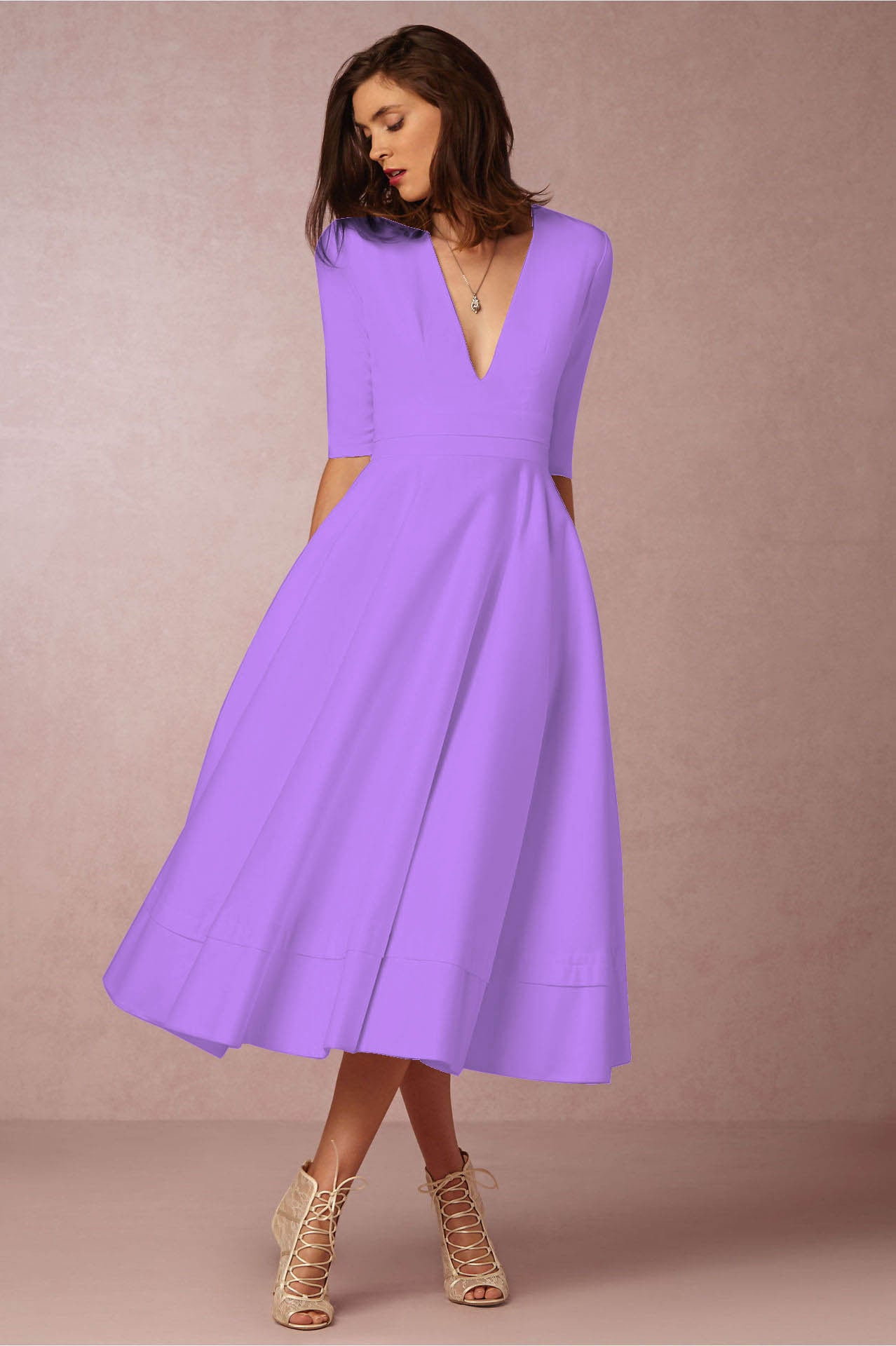Deep V Neck Swing Dress