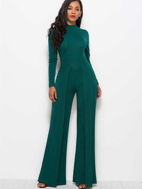 Euro Long Sleeve Wide Leg Fashion Jumpsuit