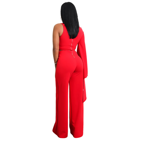Unique One Shoulder Flare Sleeve Jumpsuits