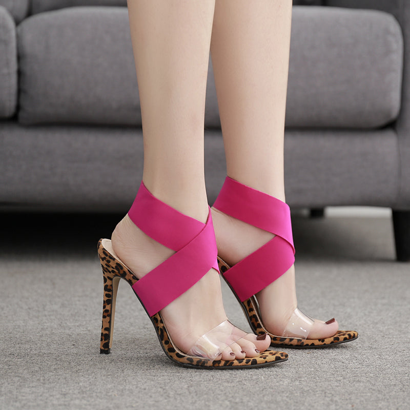 Pointed Leopard Printed Bandage Sandals
