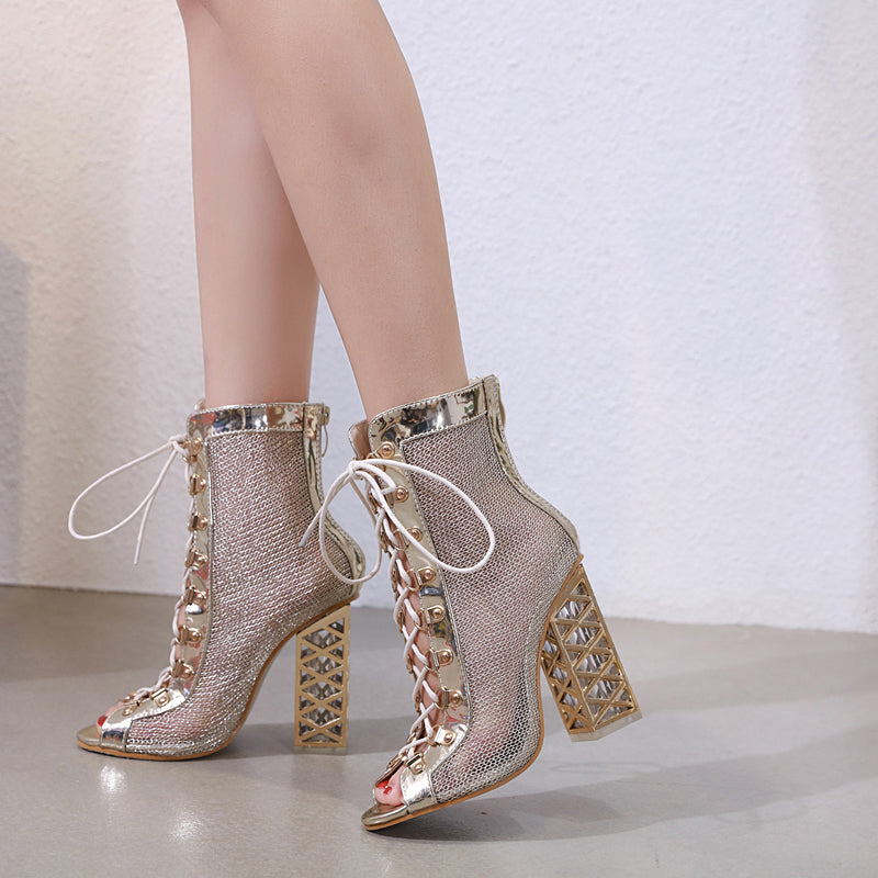 Spring Lace Up Peep-Toe Hollow Out Boots