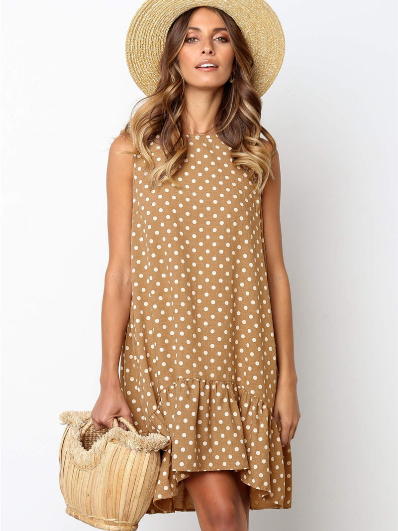 Ruffle Sleeveless Polka Dot Dress