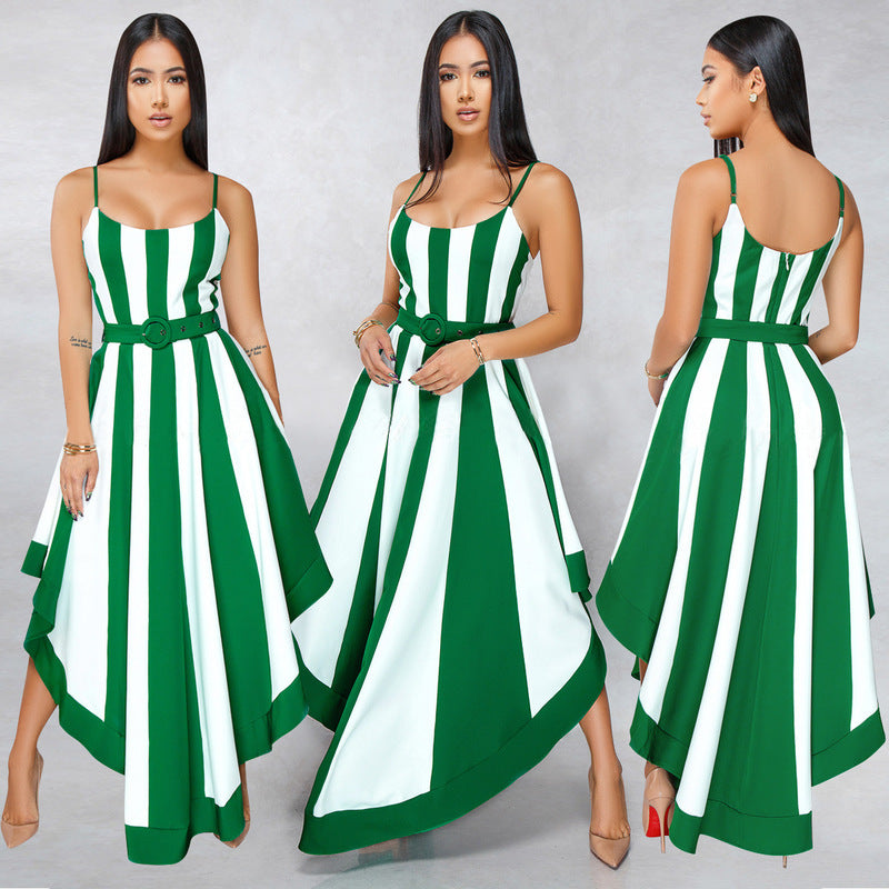 Sexy Asymmetrical Strip Color Block Low-cut Sleeveless Dresses