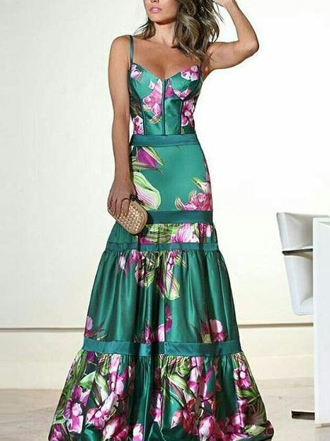 Spring Flower Large Hem Floor Length Maxi Dress