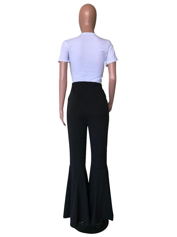 Solid Flare Pants For Women