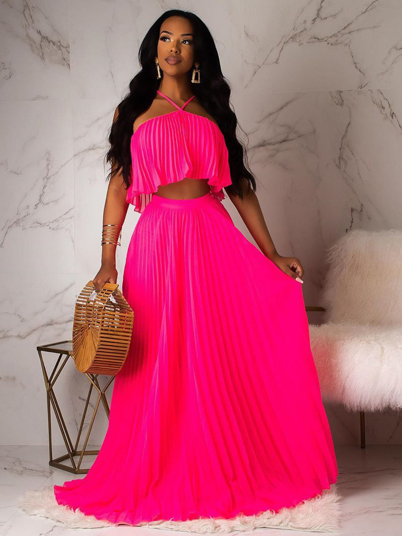 Euro Solid Color Pleated 2 Pieces Maxi Skirt Sets