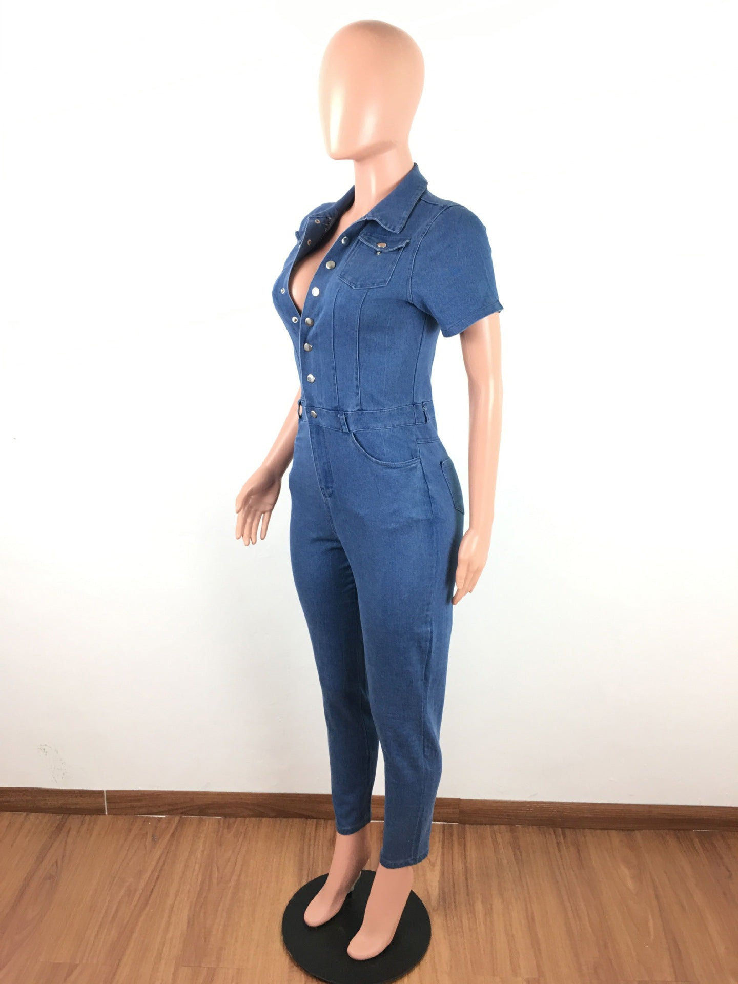 Solid Single-Breasted Pockets Denim Jumpsuit