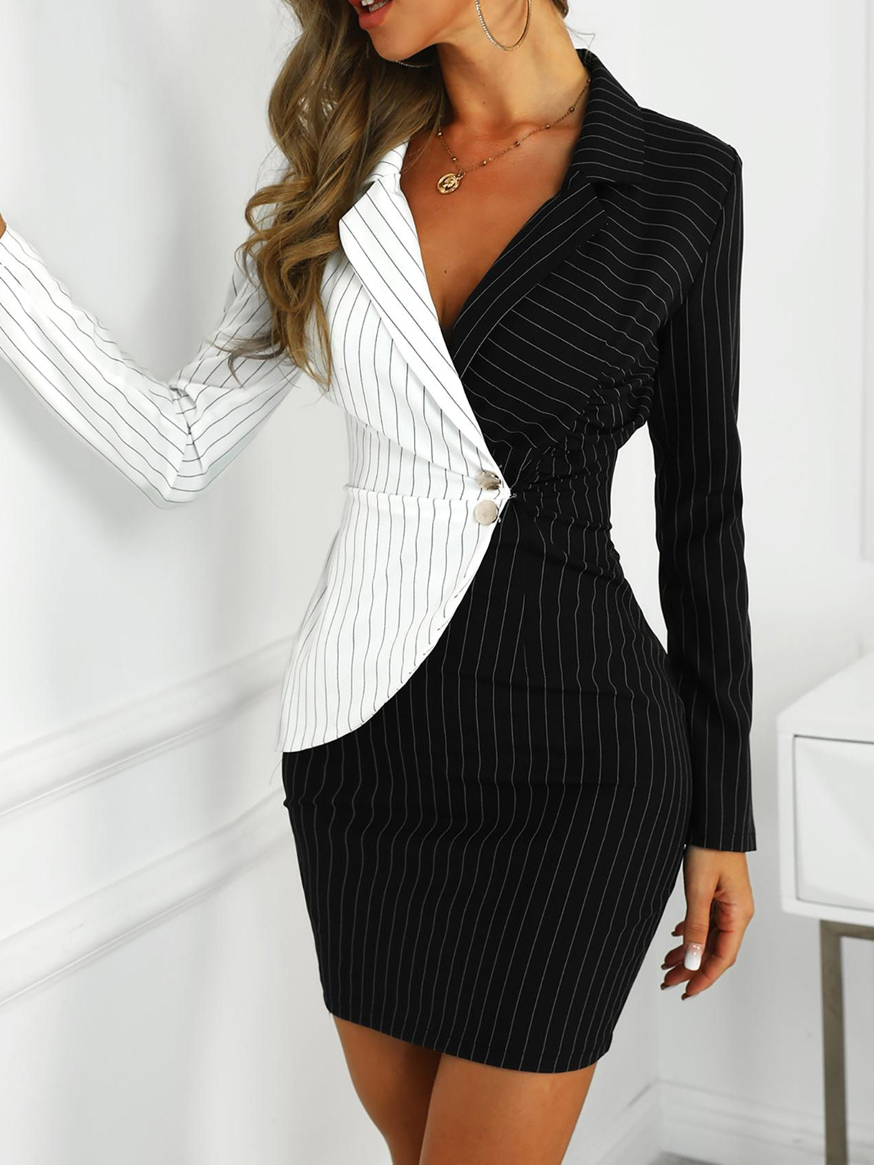 Slim Contrast Color Striped Formal Dresses