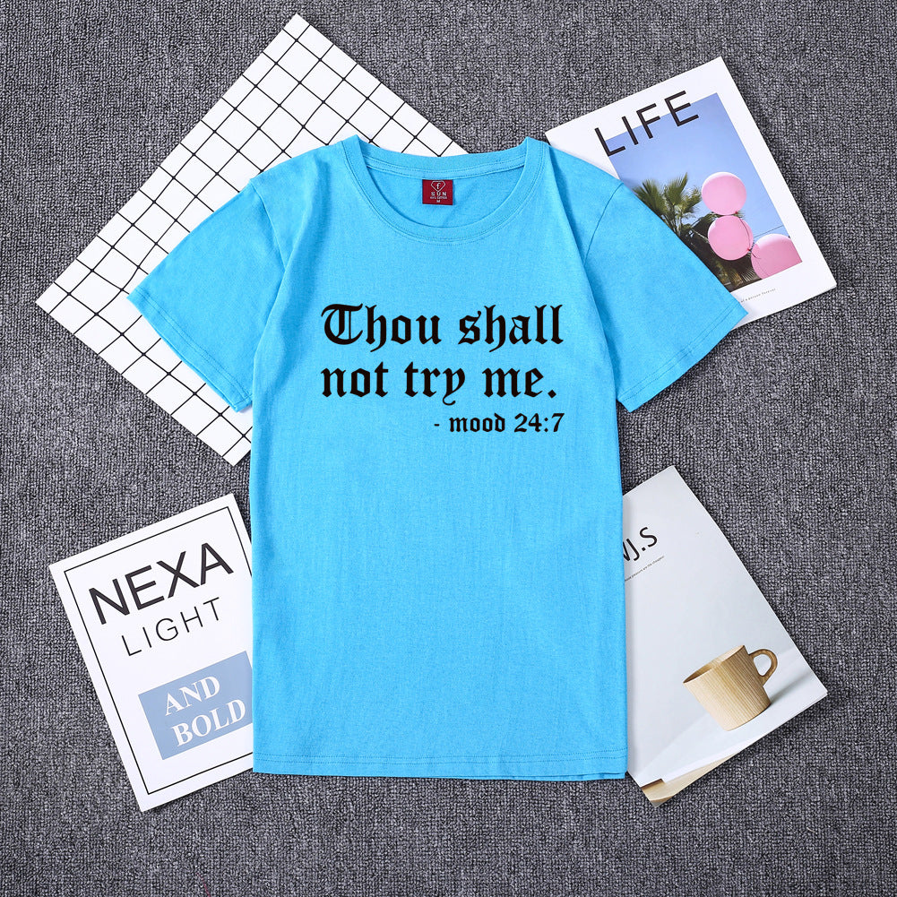 Euro Letter Short Sleeve Cotton T Shirt