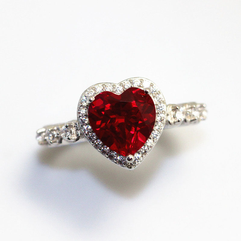 Red Ruby Heart Shape Gemstone Sterling 925 Silver Wedding Rings For Women