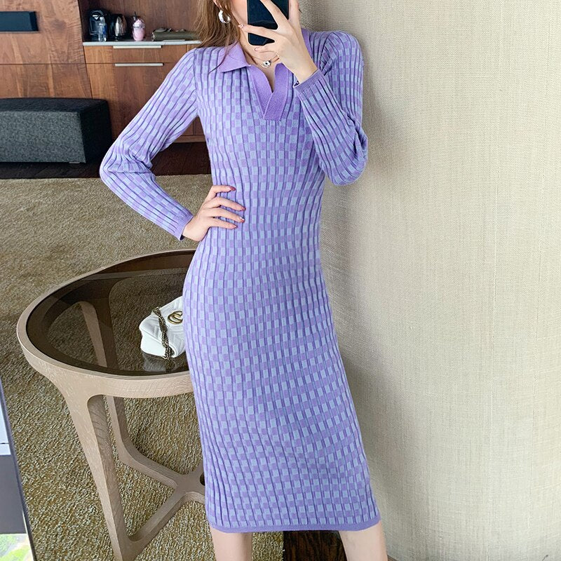 Retro Mosaic Pattern Knitted Dress