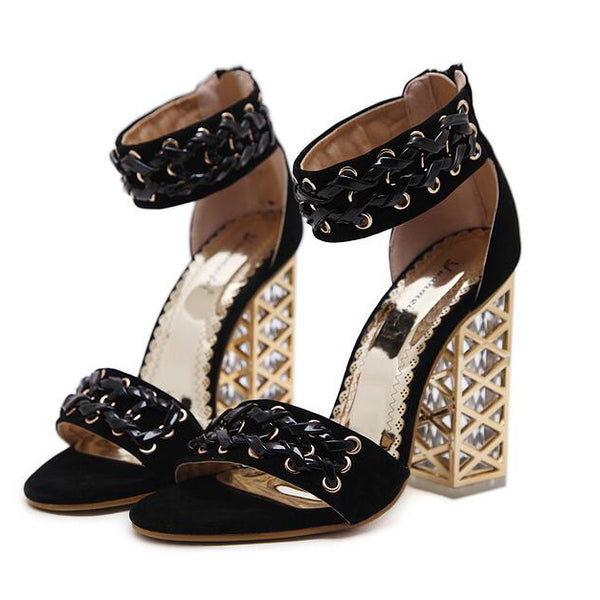 Zip Back Ankle Strap Chunky Sandals
