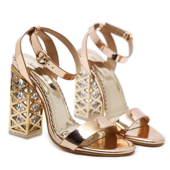 Metallic Gloss Stylish Ankle Strap Sandals