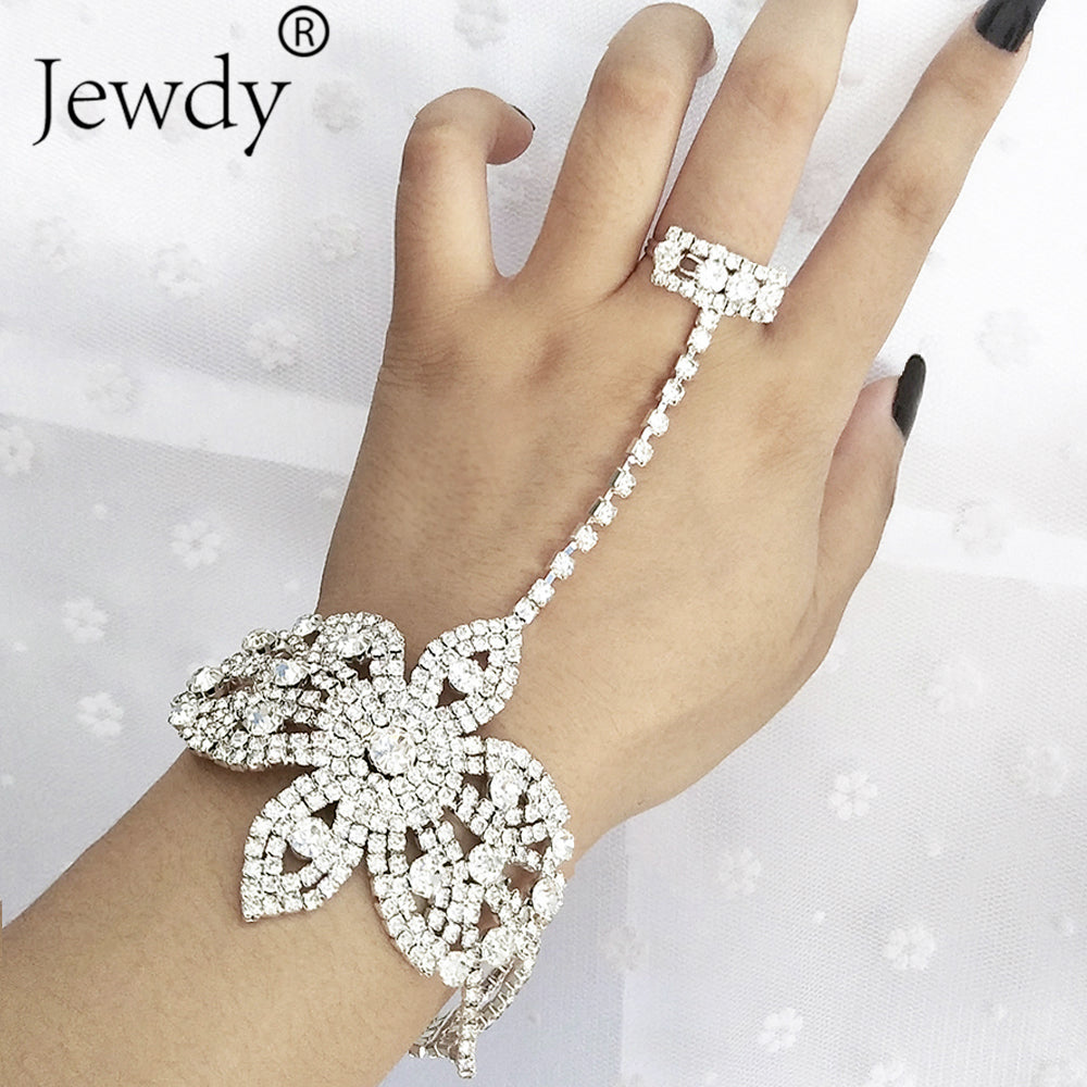 Statement Rhinestone Finger Ring Bracelets for Women