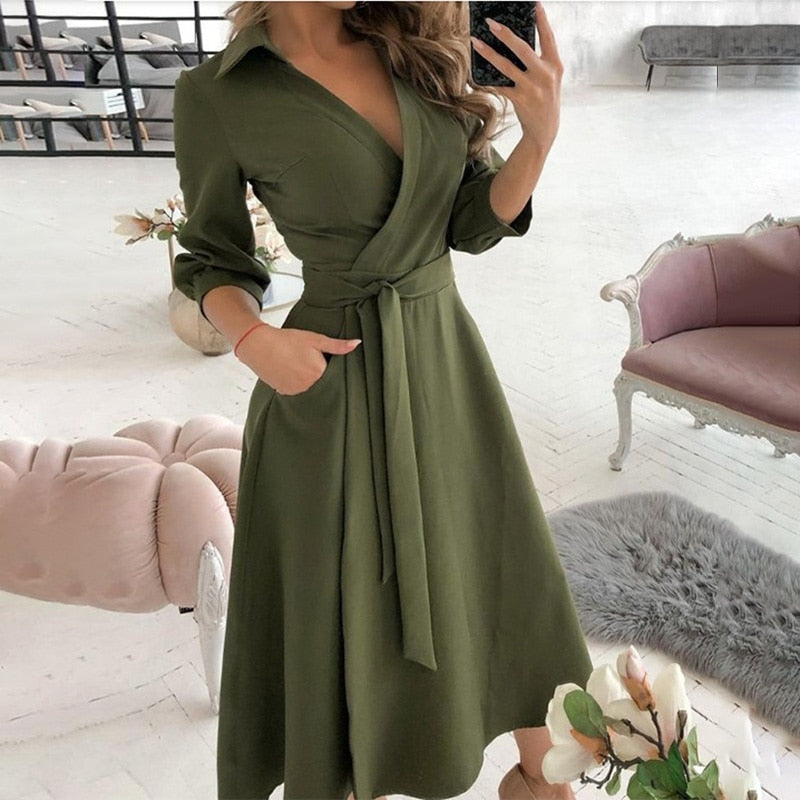 Summer Printed V-Neck Long Dress