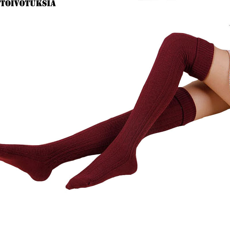 Sexy Warm Long Cotton Stocking Over Knee