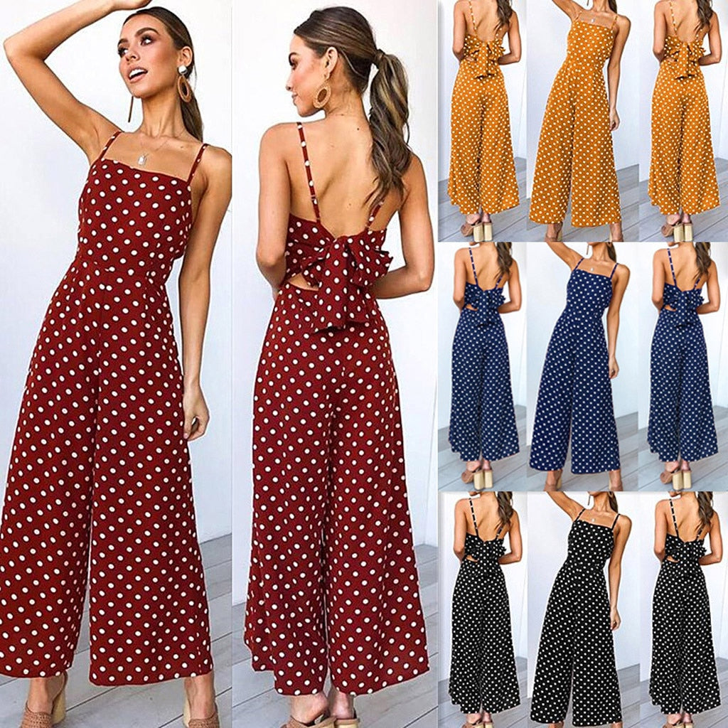 Women Summer Fashion Polka Dot Wide Leg  Jumpsuit